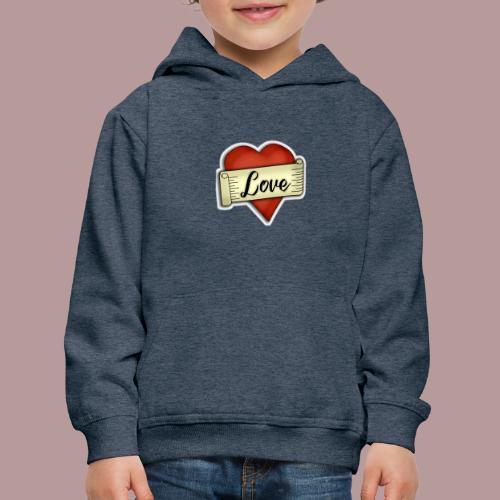 Love cœur tatouage - Pull à capuche Premium Enfant