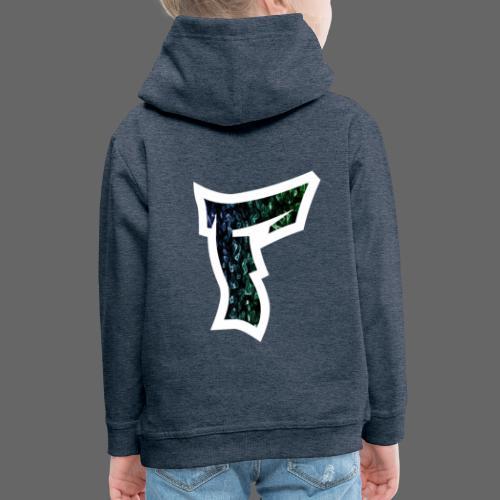 Rauch in Farben mit F Logo in Weiß - Kinder Premium Hoodie