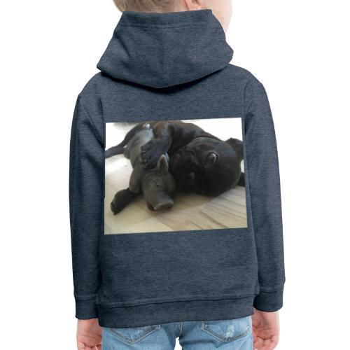kuschelnder Hund - Kinder Premium Hoodie