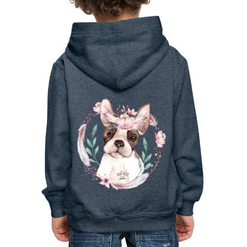 French Bully Flowers - Französische Bulldogge - Kinder Premium Hoodie