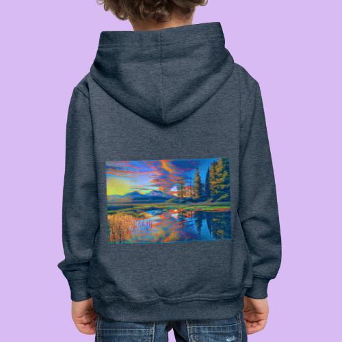Paesaggio al tramonto con laghetto stilizzato - Felpa con cappuccio Premium per bambini