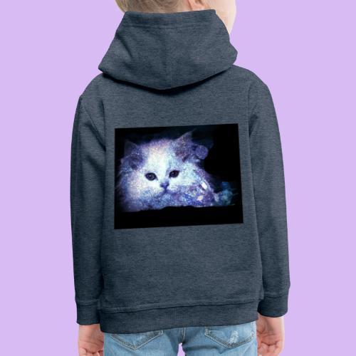 Gatto bianco glitter - Felpa con cappuccio Premium per bambini