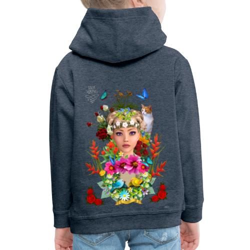 Lady spring by t-shirt chic et choc (dark & black) - Pull à capuche Premium Enfant