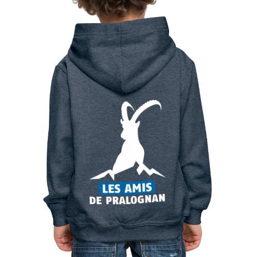Logo Les Amis de Pralo grand blanc - Pull à capuche Premium Enfant