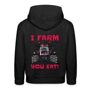 I farm you eat case - Kinderen trui Premium met capuchon