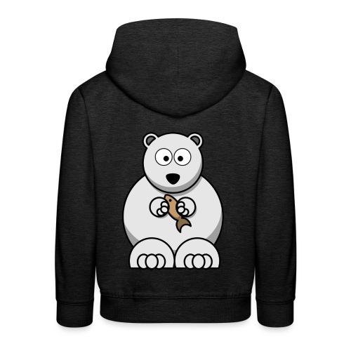 ours blanc - Pull à capuche Premium Enfant