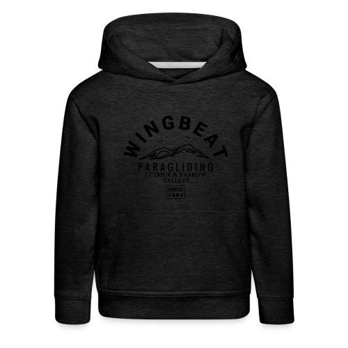 wingbeat logo - big - on back - in white - Kids' Premium Hoodie