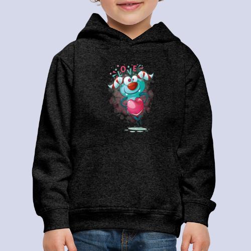 Monster cartoon love design - Kids' Premium Hoodie