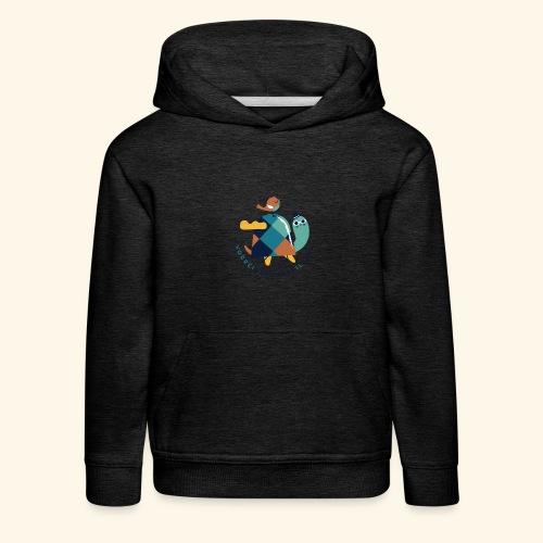 Tartaruga e uccellino - Felpa con cappuccio Premium per bambini