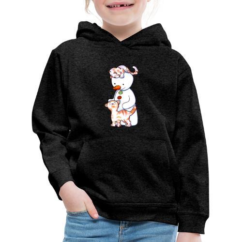 Deux petits chats et Jou le bonhomme de neige - Pull à capuche Premium Enfant