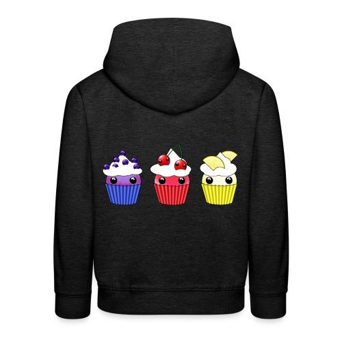 three kawaii cupcakes blueberry cherry lemon - Kids' Premium Hoodie