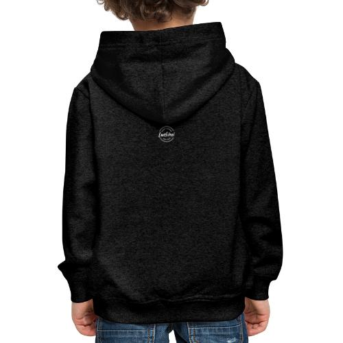 Luckimi logo circle small white back - Kids - Kids' Premium Hoodie