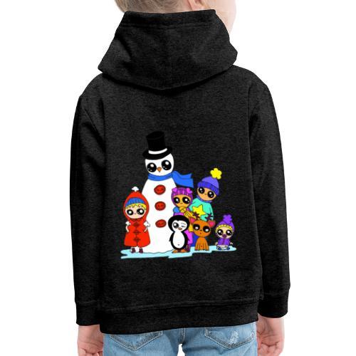 Les copains kawaii en hiver - Pull à capuche Premium Enfant