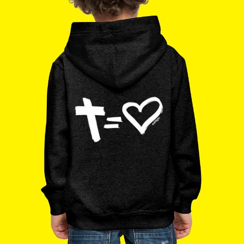Cross = Heart WHITE // Cross = Love WHITE - Kids' Premium Hoodie
