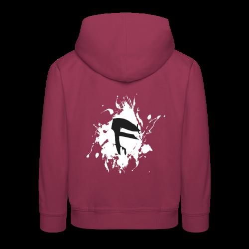 F Logo in Schwarz mit Farbklecks - Kinder Premium Hoodie