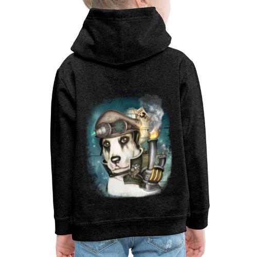 Steampunk Dog #2b - Felpa con cappuccio Premium per bambini
