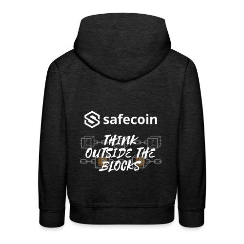 Safecoin Think Outside the Blocks (white) - Kids' Premium Hoodie