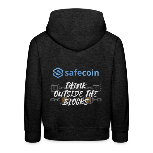 SafeCoin; Think Outside the Blocks (blue + white) - Kids' Premium Hoodie