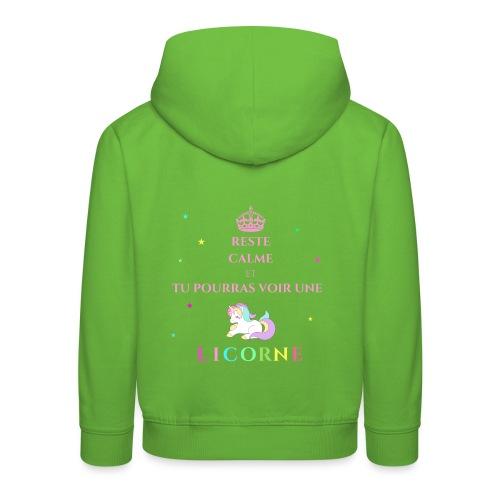 Reste calme licorne rose - Pull à capuche Premium Enfant