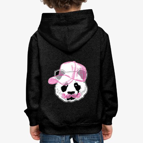 Panda - Pink - Cap - Mustache - Kinder Premium Hoodie