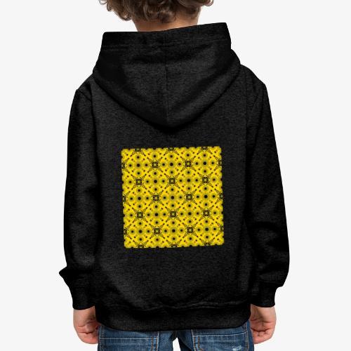 Design motifs jaune et noir - Pull à capuche Premium Enfant