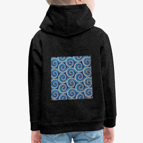 Spirales au motif bleu - Pull à capuche Premium Enfant