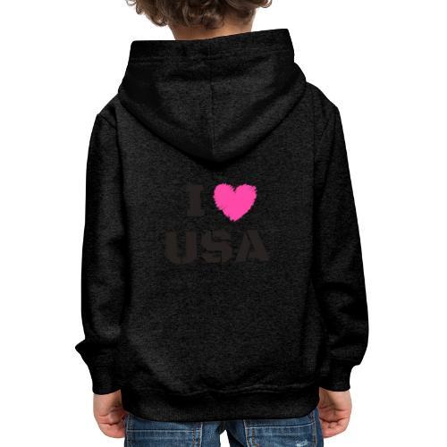 I LOVE USA, I HEART USA - Bluza dziecięca z kapturem Premium
