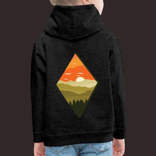 Sonnenuntergang | Wald Dämmerung Raute Baum - Kinder Premium Hoodie