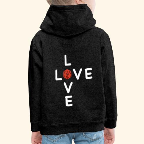 LOVE Cross white wuerfel red 001 - Kinder Premium Hoodie