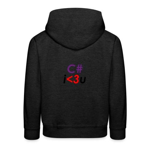 C# is love - Felpa con cappuccio Premium per bambini