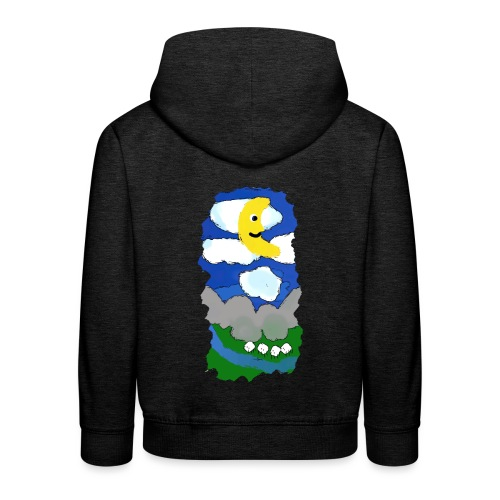 smiling moon and funny sheep - Kids' Premium Hoodie