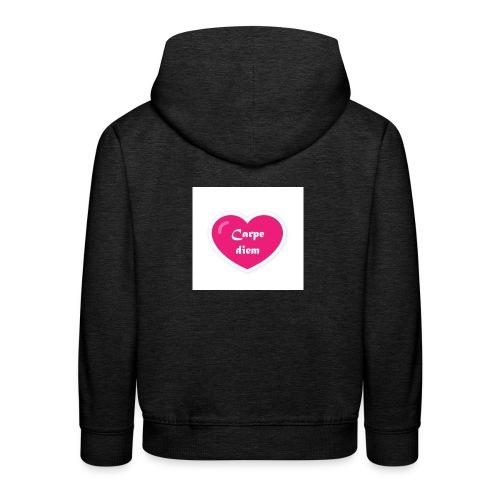 Spread shirt hjärta carpe diem vit text - Premium-Luvtröja barn