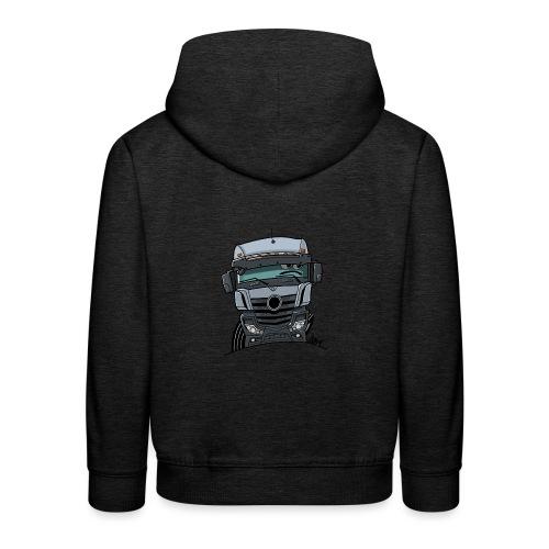 0807 M Truck grijs - Kinderen trui Premium met capuchon
