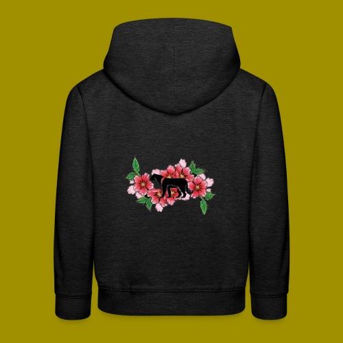 Sakura Leafs, Flowers and Black Tiger Avatar - Kids' Premium Hoodie