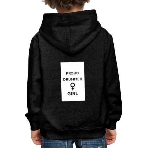 Proud drummer girl - white - Premium hættetrøje til børn