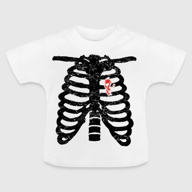 crâne coeur amour coeur squelettique face à deux vélos à bascule - T-shirt Bébé