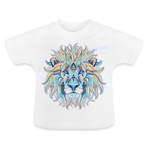 stock vector patterned head of the lion on the gru - Camiseta bebé