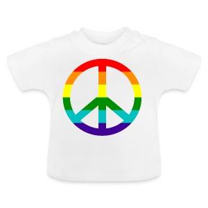 Gay pride peace symbool in regenboog kleuren - Baby T-shirt