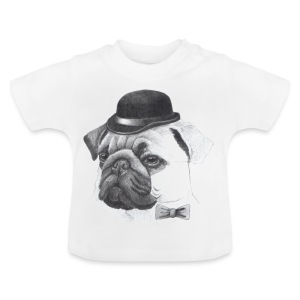 pug with bowler - Baby T-shirt