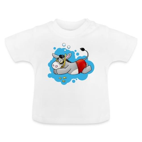 Esel - Kuschelesel geht schwimmen - Baby T-Shirt