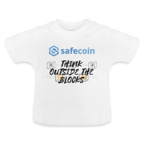 SafeCoin; Think Outside the Blocks (black + blue) - Baby T-Shirt