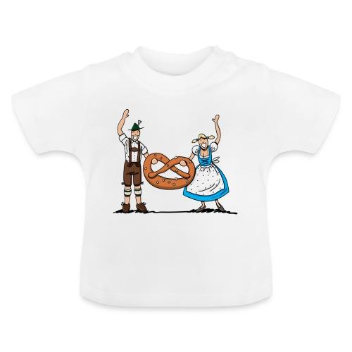 Bayrisches Paar mit Riesenbrezel - Baby T-Shirt