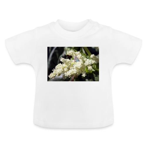 Perhonen raparperin kukalla - Vauvan t-paita