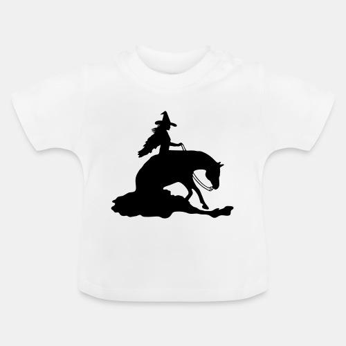 Hexe auf Westernpferd, Sliding Stop - Baby T-Shirt