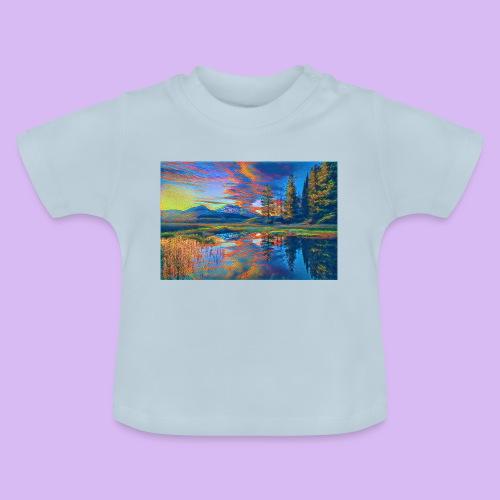 Paesaggio al tramonto con laghetto stilizzato - Maglietta per neonato