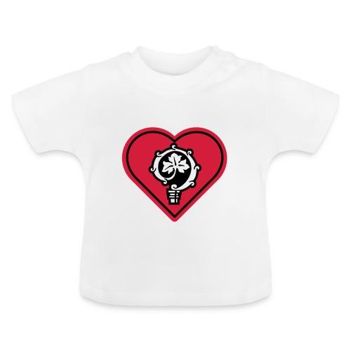 herz shirt weiss hoch 25cm ok - Baby T-Shirt