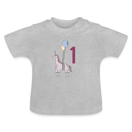 1 Jahr Einhorn / Geschenkidee zum 1. Geburtstag - Baby T-Shirt
