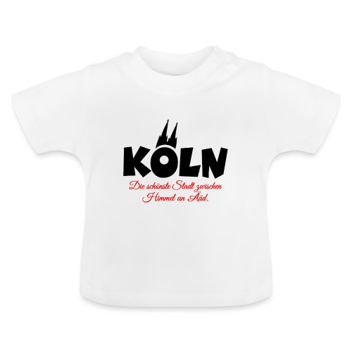 Köln zwischen Himmel un Ääd (Schwarz/Rot) - Baby T-Shirt