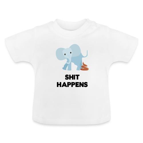 olifant met drol shit happens poep schaamte - Baby T-shirt