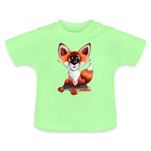 llwynogyn - a little red fox - Vauvan t-paita